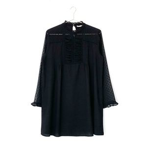 zara black long sleeve ruffle swiss dot mini dress
